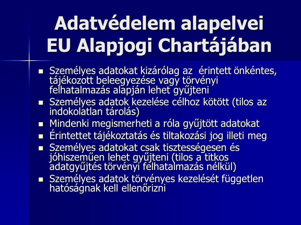 Adatvédelem alapelvei EU Alapjogi Chartájában  Személyes adatokat kizárólag az érintett önkéntes, tájékozott beleegyezése vagy törvényi felhatalmazás