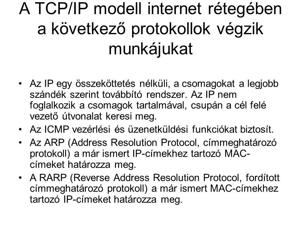 A TCP/IP modell internet rétegében a következő protokollok végzik munkájukat •Az IP egy összeköttetés nélküli, a csomagokat a legjobb szándék szerint