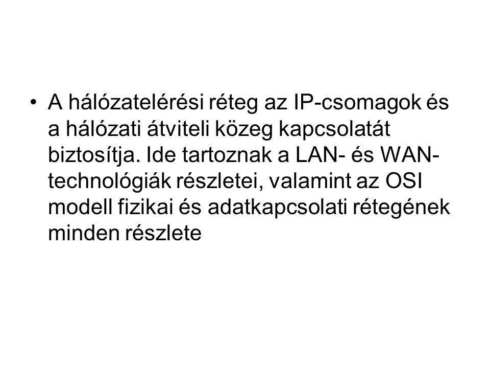 •A hálózatelérési réteg az IP-csomagok és a hálózati átviteli közeg kapcsolatát biztosítja. Ide tartoznak a LAN- és WAN- technológiák részletei, valam