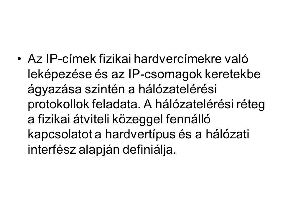 •Az IP-címek fizikai hardvercímekre való leképezése és az IP-csomagok keretekbe ágyazása szintén a hálózatelérési protokollok feladata. A hálózateléré