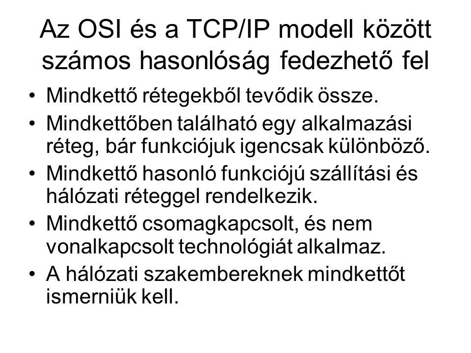 Az OSI és a TCP/IP modell között számos hasonlóság fedezhető fel •Mindkettő rétegekből tevődik össze. •Mindkettőben található egy alkalmazási réteg, b