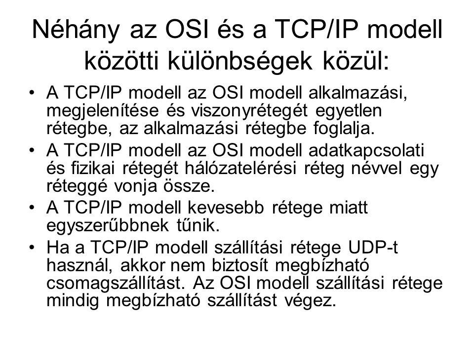 Néhány az OSI és a TCP/IP modell közötti különbségek közül: •A TCP/IP modell az OSI modell alkalmazási, megjelenítése és viszonyrétegét egyetlen réteg
