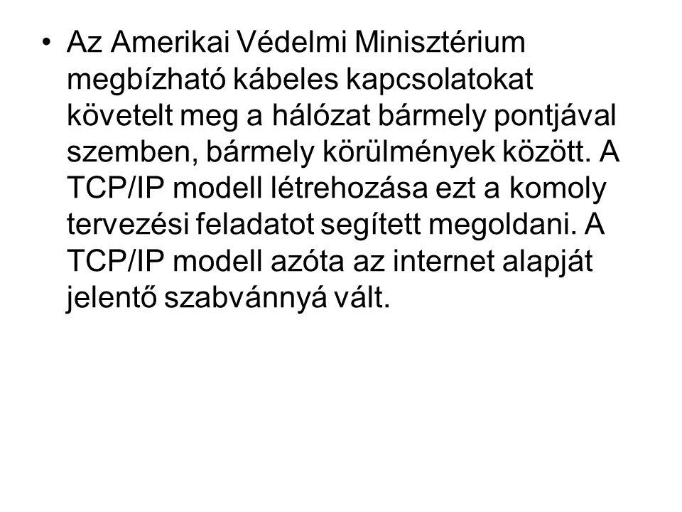 •Az Amerikai Védelmi Minisztérium megbízható kábeles kapcsolatokat követelt meg a hálózat bármely pontjával szemben, bármely körülmények között. A TCP