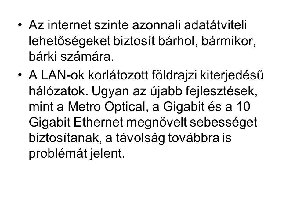 •Az internet szinte azonnali adatátviteli lehetőségeket biztosít bárhol, bármikor, bárki számára. •A LAN-ok korlátozott földrajzi kiterjedésű hálózato