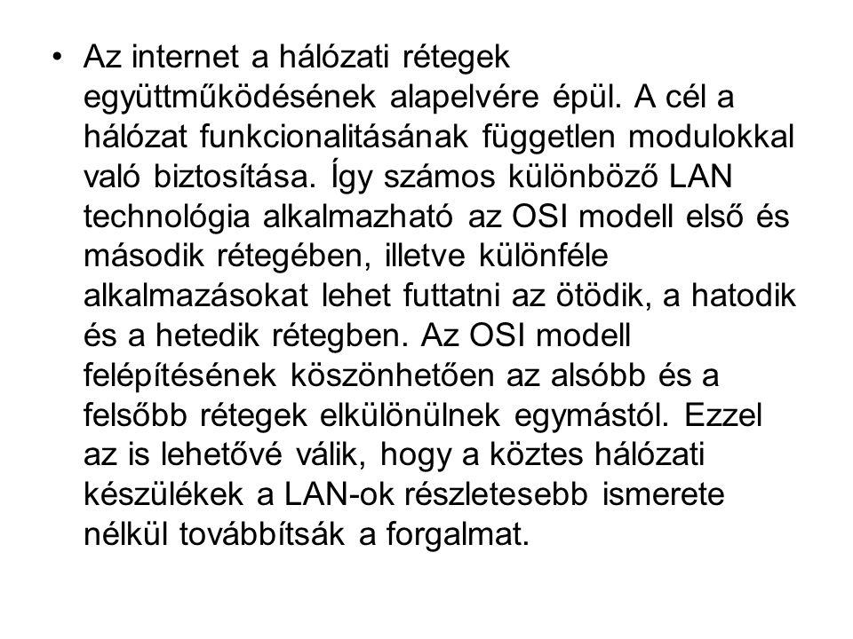 •Az internet a hálózati rétegek együttműködésének alapelvére épül. A cél a hálózat funkcionalitásának független modulokkal való biztosítása. Így számo