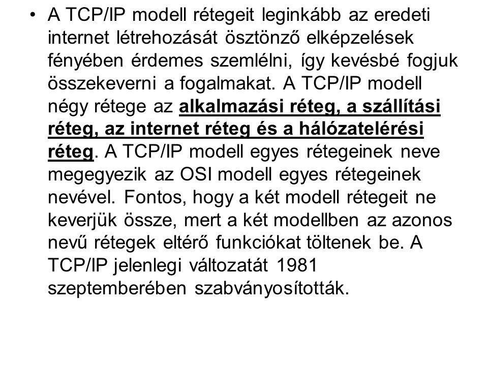 •A TCP/IP modell rétegeit leginkább az eredeti internet létrehozását ösztönző elképzelések fényében érdemes szemlélni, így kevésbé fogjuk összekeverni