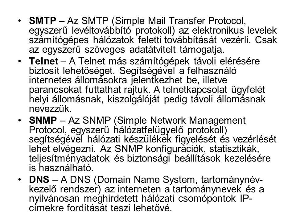 •SMTP – Az SMTP (Simple Mail Transfer Protocol, egyszerű levéltovábbító protokoll) az elektronikus levelek számítógépes hálózatok feletti továbbítását
