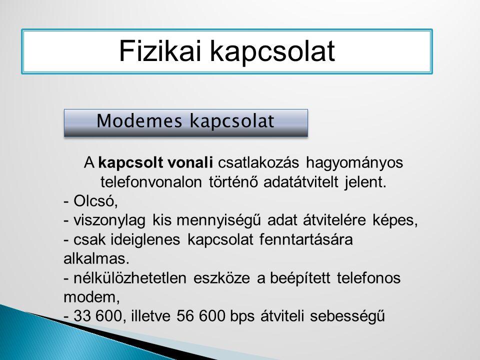 Fizikai kapcsolat Modemes kapcsolat A kapcsolt vonali csatlakozás hagyományos telefonvonalon történő adatátvitelt jelent. - Olcsó, - viszonylag kis me