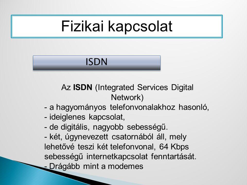 Fizikai kapcsolat ISDN Az ISDN (Integrated Services Digital Network) - a hagyományos telefonvonalakhoz hasonló, - ideiglenes kapcsolat, - de digitális