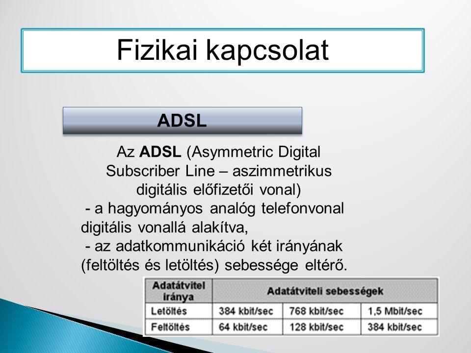 Fizikai kapcsolat ADSL Az ADSL (Asymmetric Digital Subscriber Line – aszimmetrikus digitális előfizetői vonal) - a hagyományos analóg telefonvonal dig