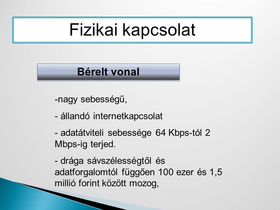 Fizikai kapcsolat Bérelt vonal -nagy sebességű, - állandó internetkapcsolat - adatátviteli sebessége 64 Kbps-tól 2 Mbps-ig terjed. - drága sávszélessé