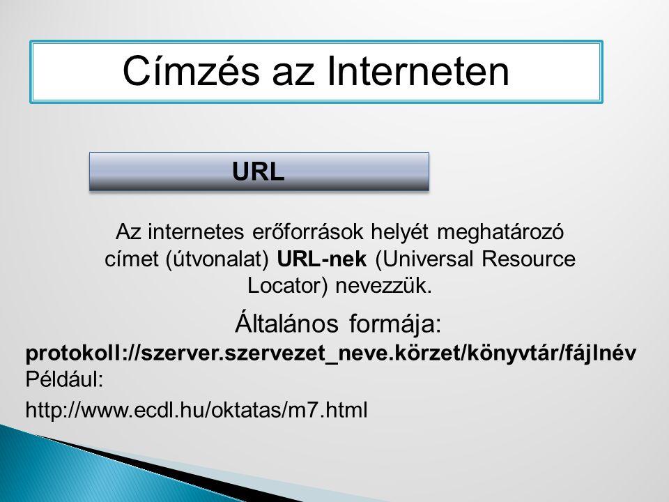 Címzés az Interneten URL Az internetes erőforrások helyét meghatározó címet (útvonalat) URL-nek (Universal Resource Locator) nevezzük. Általános formá