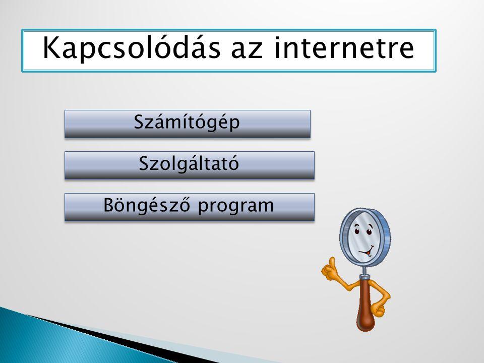 Kapcsolódás az internetre Számítógép Szolgáltató Böngésző program