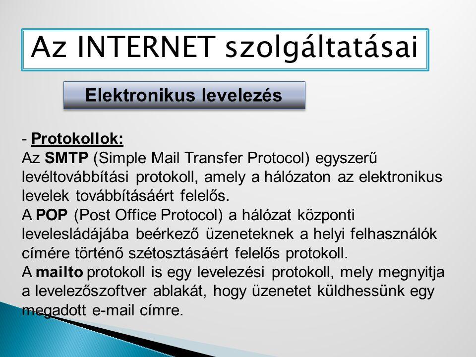 Az INTERNET szolgáltatásai Elektronikus levelezés - Protokollok: Az SMTP (Simple Mail Transfer Protocol) egyszerű levéltovábbítási protokoll, amely a