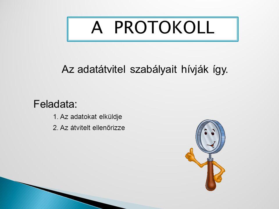 A PROTOKOLL Az adatátvitel szabályait hívják így. Feladata: 1. Az adatokat elküldje 2. Az átvitelt ellenőrizze