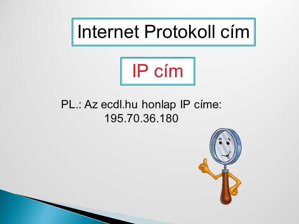 Internet Protokoll cím IP cím PL.: Az ecdl.hu honlap IP címe: 195.70.36.180