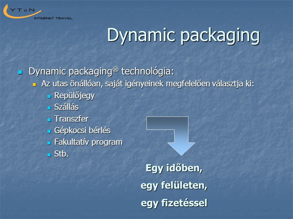 Dynamic packaging  Dynamic packaging ® technológia:  Az utas önállóan, saját igényeinek megfelelően választja ki:  Repülőjegy  Szállás  Transzfer