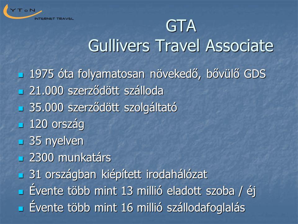 GTA Gullivers Travel Associate  1975 óta folyamatosan növekedő, bővülő GDS  21.000 szerződött szálloda  35.000 szerződött szolgáltató  120 ország