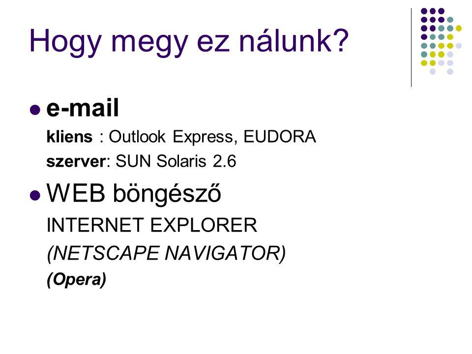 Hogy megy ez nálunk?  e-mail kliens : Outlook Express, EUDORA szerver: SUN Solaris 2.6  WEB böngésző INTERNET EXPLORER (NETSCAPE NAVIGATOR) (Opera)