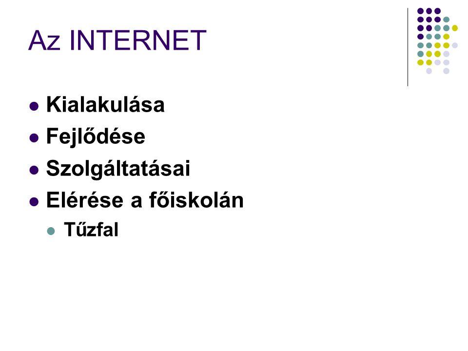Az INTERNET  Kialakulása  Fejlődése  Szolgáltatásai  Elérése a főiskolán  Tűzfal
