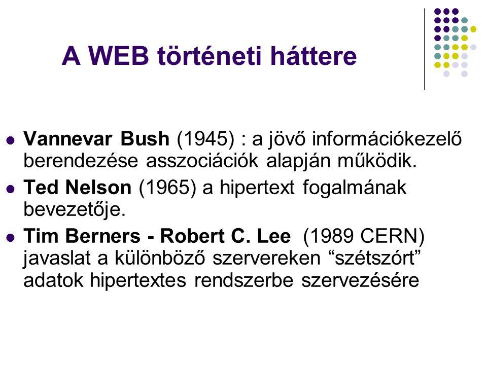 A WEB történeti háttere  Vannevar Bush (1945) : a jövő információkezelő berendezése asszociációk alapján működik.  Ted Nelson (1965) a hipertext fog