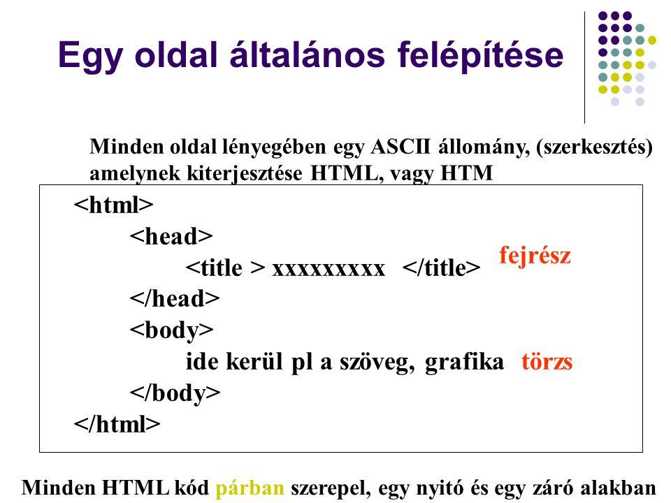 Egy oldal általános felépítése xxxxxxxxx ide kerül pl a szöveg, grafika fejrész törzs Minden HTML kód párban szerepel, egy nyitó és egy záró alakban M