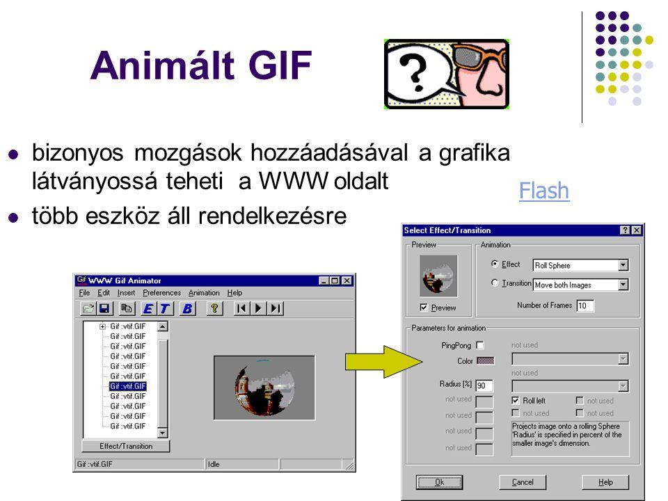 Animált GIF  bizonyos mozgások hozzáadásával a grafika látványossá teheti a WWW oldalt  több eszköz áll rendelkezésre Flash