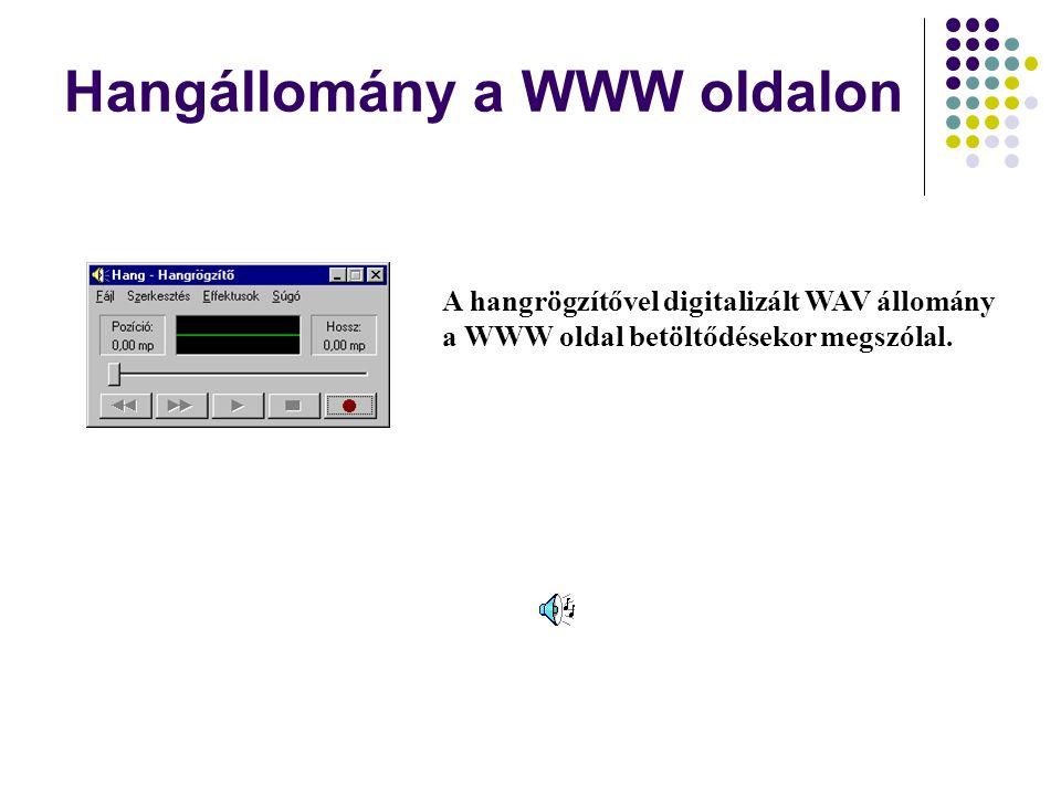Hangállomány a WWW oldalon A hangrögzítővel digitalizált WAV állomány a WWW oldal betöltődésekor megszólal.