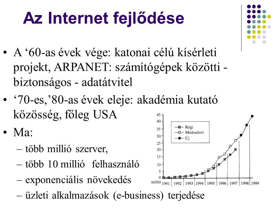 Az Internet fejlődése •A '60-as évek vége: katonai célú kísérleti projekt, ARPANET: számítógépek közötti - biztonságos - adatátvitel •'70-es,'80-as év