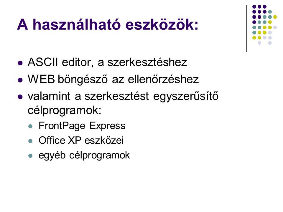 A használható eszközök:  ASCII editor, a szerkesztéshez  WEB böngésző az ellenőrzéshez  valamint a szerkesztést egyszerűsítő célprogramok:  FrontP
