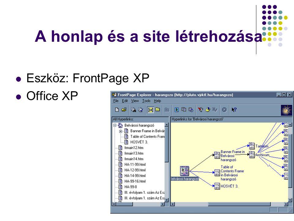 A honlap és a site létrehozása  Eszköz: FrontPage XP  Office XP