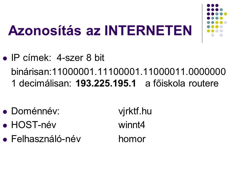 Azonosítás az INTERNETEN  IP címek: 4-szer 8 bit binárisan:11000001.11100001.11000011.0000000 1 decimálisan: 193.225.195.1 a főiskola routere  Domén