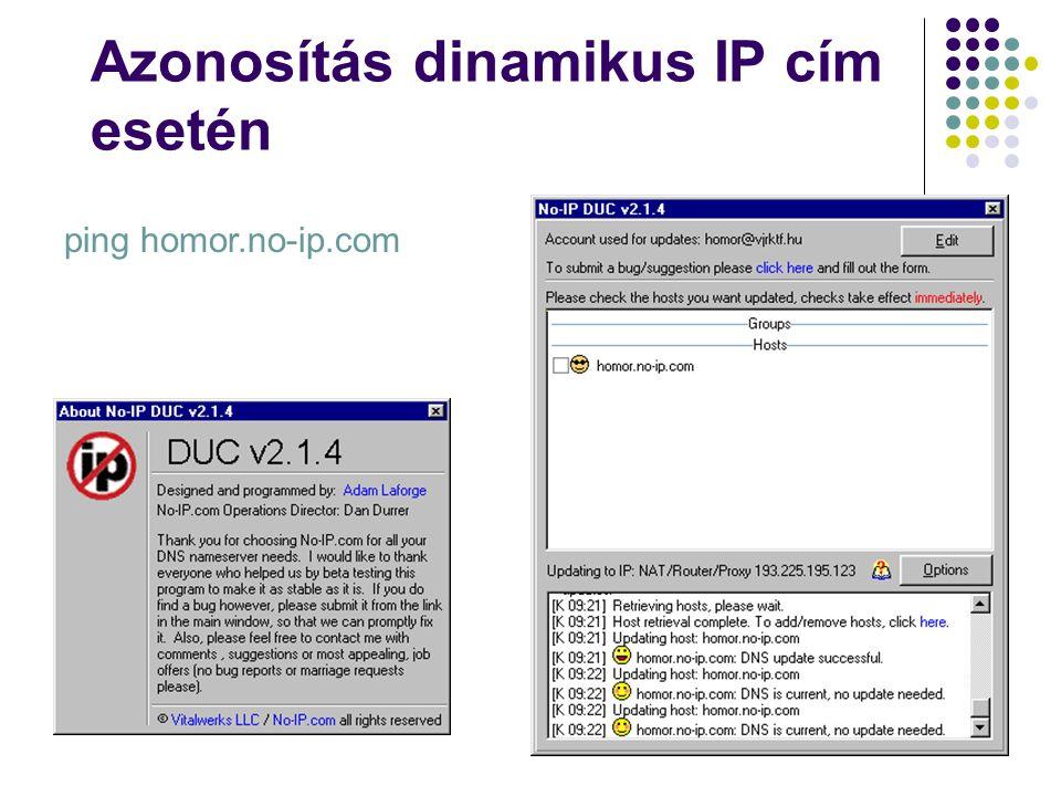 Azonosítás dinamikus IP cím esetén ping homor.no-ip.com