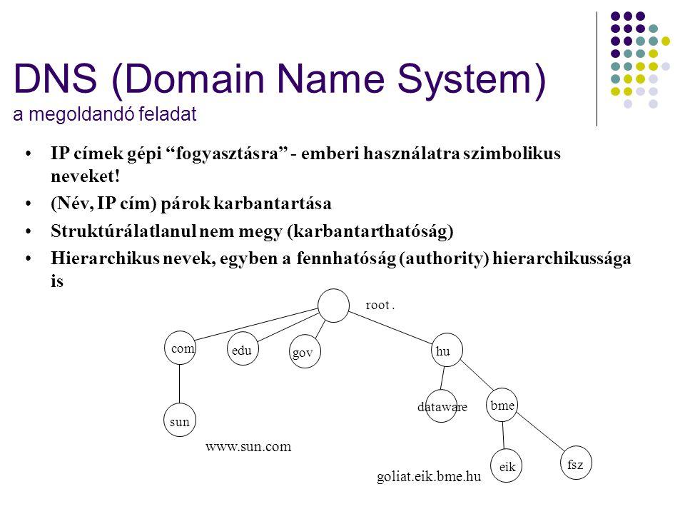 """DNS (Domain Name System) a megoldandó feladat •IP címek gépi """"fogyasztásra"""" - emberi használatra szimbolikus neveket! •(Név, IP cím) párok karbantartá"""