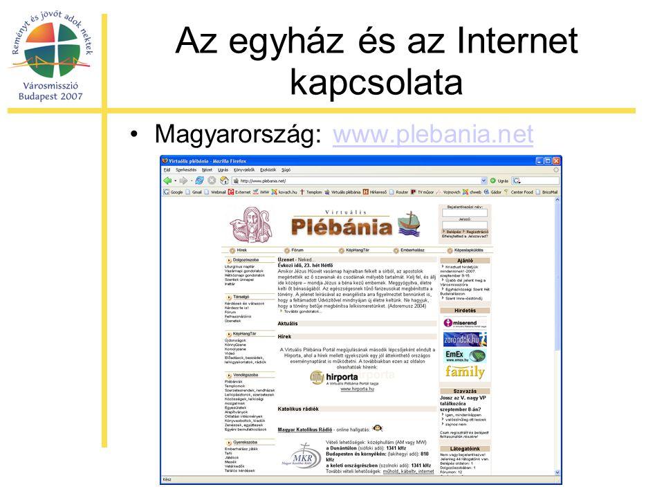 Az egyház és az Internet kapcsolata •Magyarország: www.plebania.netwww.plebania.net