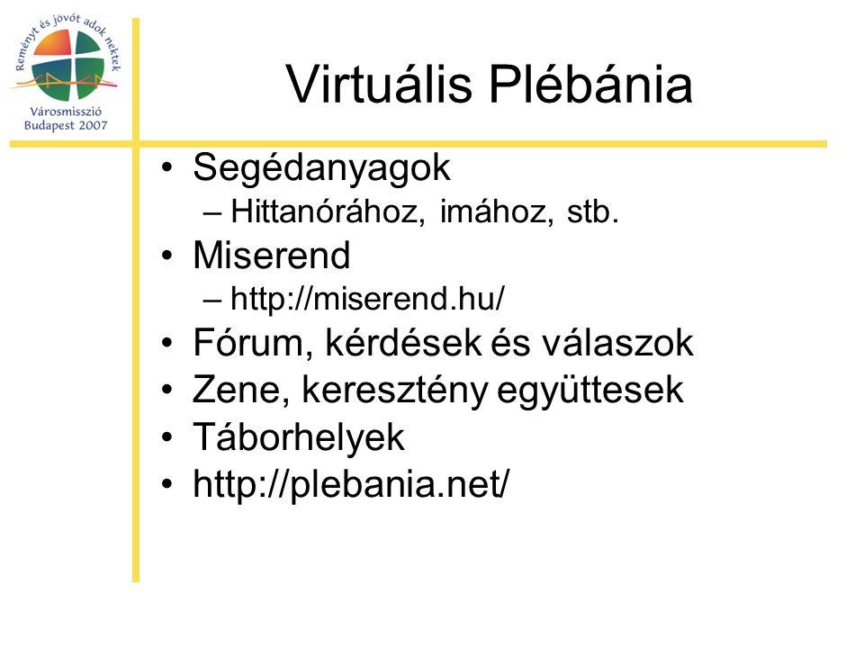Virtuális Plébánia •Segédanyagok –Hittanórához, imához, stb. •Miserend –http://miserend.hu/ •Fórum, kérdések és válaszok •Zene, keresztény együttesek