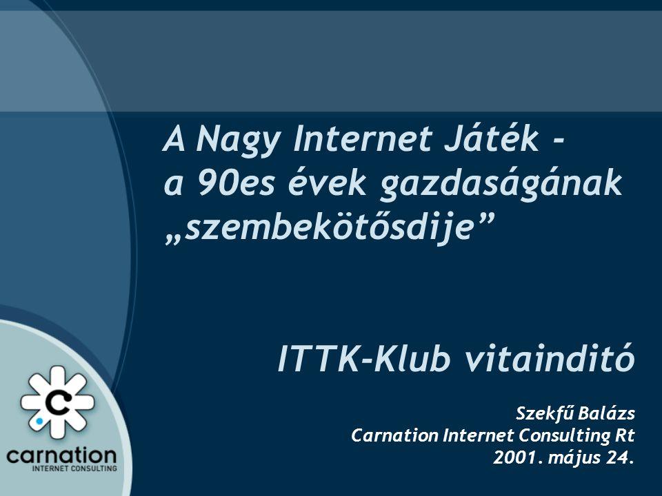 """A Nagy Internet Játék - a 90es évek gazdaságának """"szembekötősdije"""" ITTK-Klub vitainditó Szekfű Balázs Carnation Internet Consulting Rt 2001. május 24."""