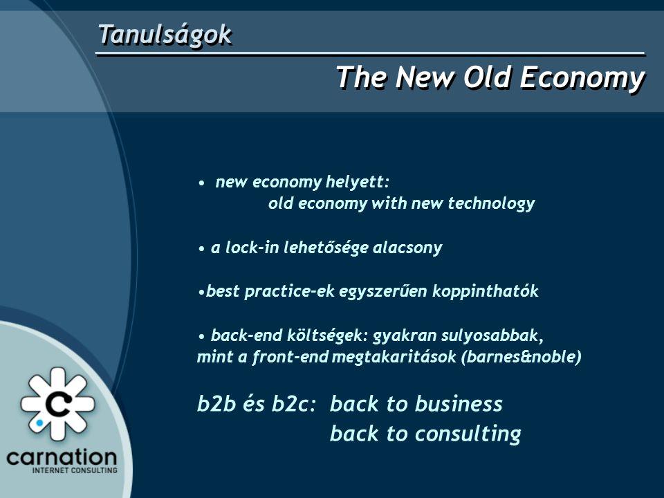 • new economy helyett: old economy with new technology • a lock-in lehetősége alacsony •best practice-ek egyszerűen koppinthatók • back-end költségek: gyakran sulyosabbak, mint a front-end megtakaritások (barnes&noble) b2b és b2c: back to business back to consulting Tanulságok The New Old Economy