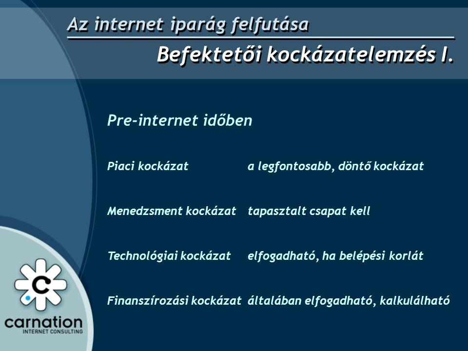 Pre-internet időben -- és Internet időben Piaci kockázat a legfontosabb, döntő kockázat Milyen piaci kockázat.