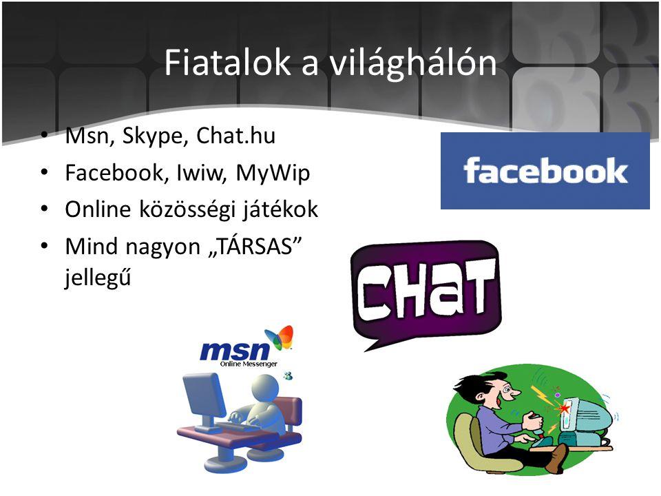 """Fiatalok a világhálón • Msn, Skype, Chat.hu • Facebook, Iwiw, MyWip • Online közösségi játékok • Mind nagyon """"TÁRSAS"""" jellegű"""