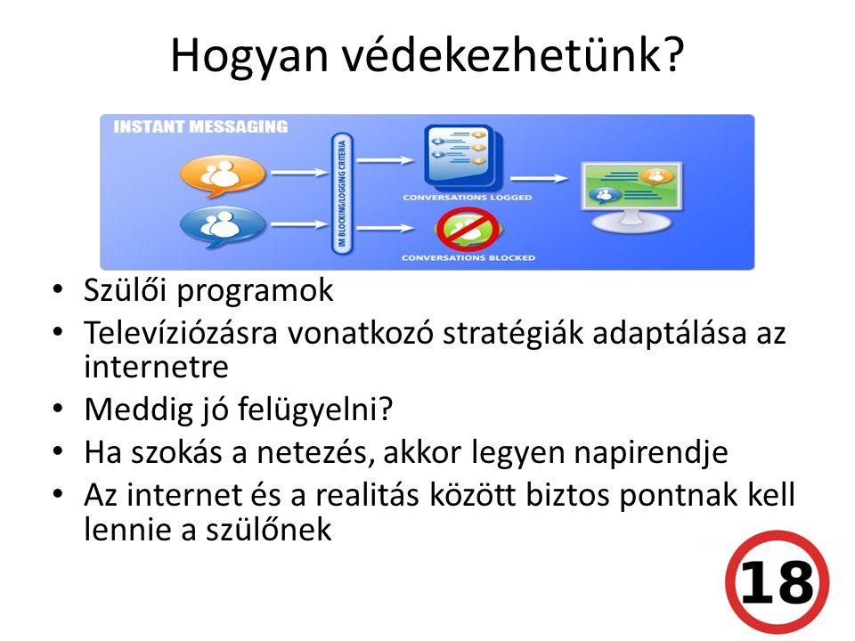 Hogyan védekezhetünk? • Szülői programok • Televíziózásra vonatkozó stratégiák adaptálása az internetre • Meddig jó felügyelni? • Ha szokás a netezés,