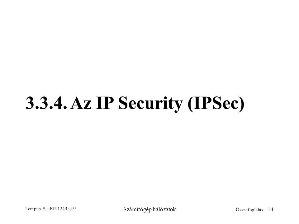 Tempus S_JEP-12435-97 Számítógép hálózatok Összefoglalás - 14 3.3.4. Az IP Security (IPSec)