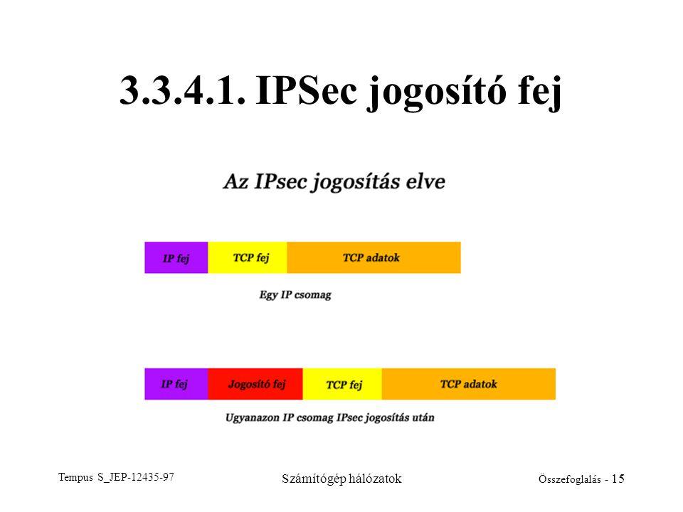 Tempus S_JEP-12435-97 Számítógép hálózatok Összefoglalás - 15 3.3.4.1. IPSec jogosító fej