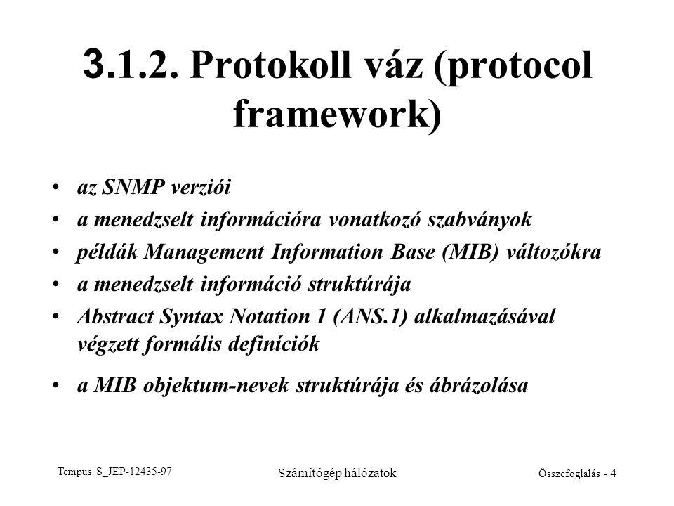 Tempus S_JEP-12435-97 Számítógép hálózatok Összefoglalás - 4 3. 1.2. Protokoll váz (protocol framework) •az SNMP verziói •a menedzselt információra vo