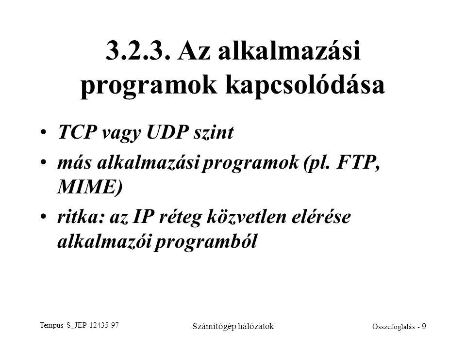 Tempus S_JEP-12435-97 Számítógép hálózatok Összefoglalás - 9 3.2.3. Az alkalmazási programok kapcsolódása •TCP vagy UDP szint •más alkalmazási program