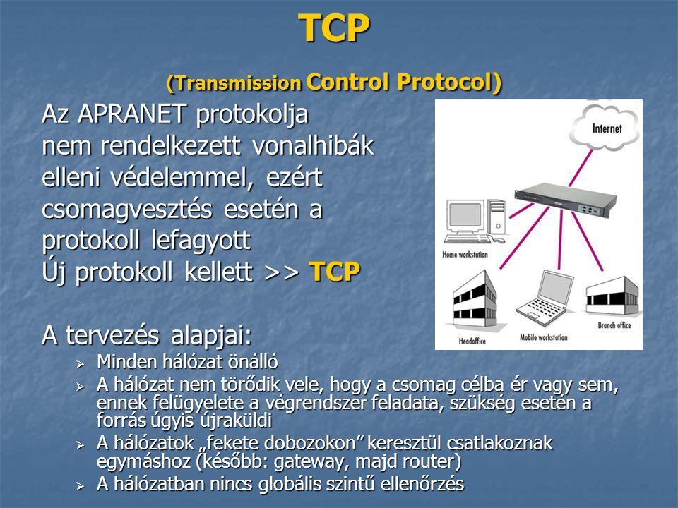 TCP (Transmission Control Protocol) Az APRANET protokolja nem rendelkezett vonalhibák elleni védelemmel, ezért csomagvesztés esetén a protokoll lefagy