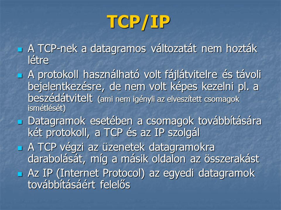 TCP/IP  A TCP-nek a datagramos változatát nem hozták létre  A protokoll használható volt fájlátvitelre és távoli bejelentkezésre, de nem volt képes
