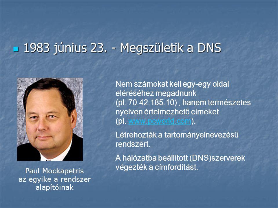  1983 június 23. - Megszületik a DNS Nem számokat kell egy-egy oldal eléréséhez megadnunk (pl. 70.42.185.10), hanem természetes nyelven értelmezhető