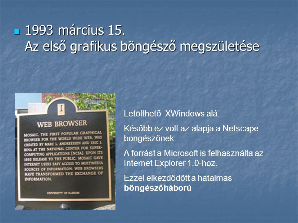  1993 március 15. Az első grafikus böngésző megszületése Letölthető XWindows alá. Később ez volt az alapja a Netscape böngészőnek. A forrást a Micros