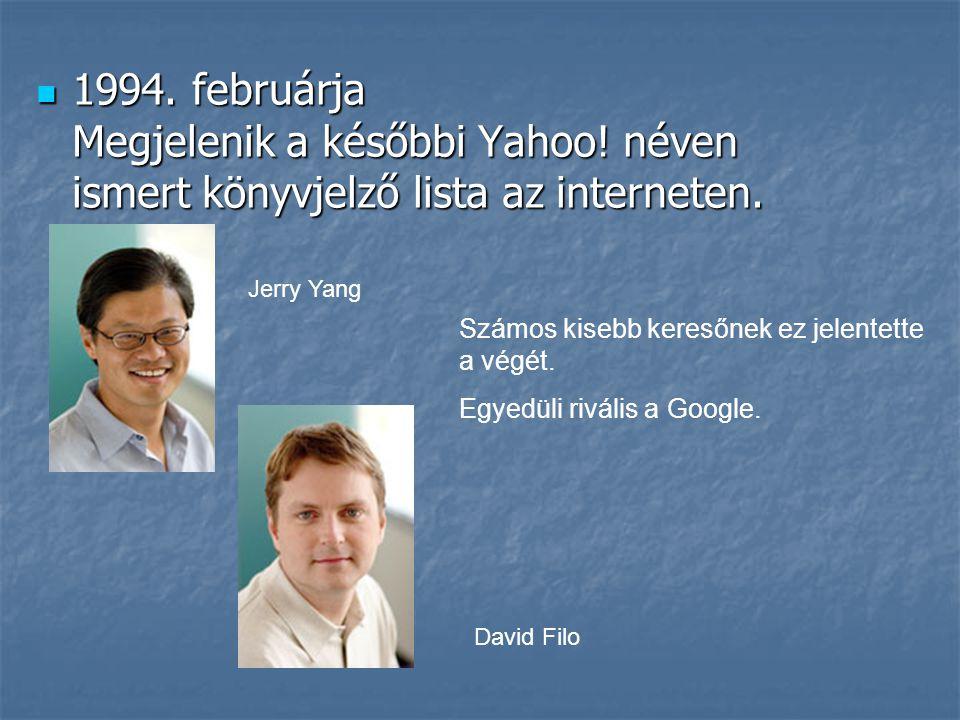  1994. februárja Megjelenik a későbbi Yahoo! néven ismert könyvjelző lista az interneten. Számos kisebb keresőnek ez jelentette a végét. Egyedüli riv
